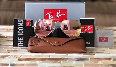 Ray-Ban Aviator Sunglasses RB3025 019/Z2 Matte Silver Frame/Copper Pink 58mm!!