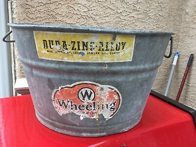 Vintage Wheeling Round Galvanized Metal Wash Tub Bucket Basin Planter A