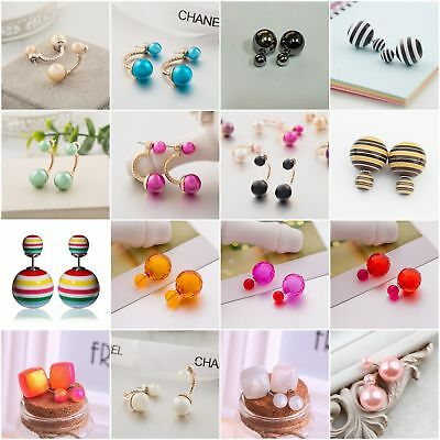 Double Sides Big Pearl Colors Rubber Ball Bead Stud Light Purple Earring Candy