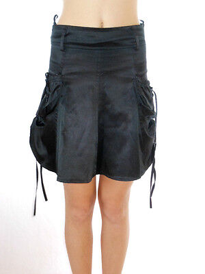 Girls Vtg 80s Black Glossy Asymmetric Satin Festival Party Goth Skirt 8yr AL36