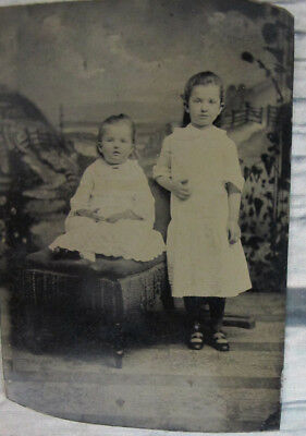 Antique TinType Two Young Girls Children Toddler Sitting Chair 1/6th Plate 1870s