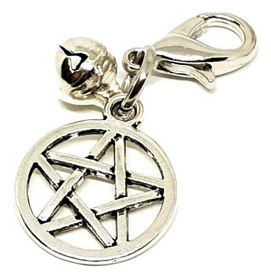 Pentagram Charm Cat Dog Pet Collar Silver Bell Witch Pentacle Metal Large Clip