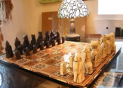 "ISLE OF LEWIS CHESS SET with ORNATE 17"" BOARD - BERKELEY CHESS, U.K. K= 3.5"""