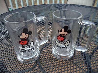 Pair of  Vintage Walt Disney WorldMickey Mouse Glass Mugs with Handles