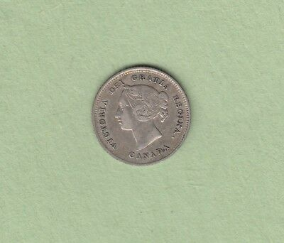 1880 Canadian 5 Cents Silver Coin - Obverse 3 - VF