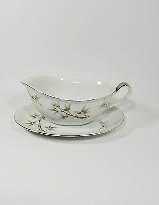 Seyei Fine China Japan Porcelain Bamboo Garden Gravy Boat with Under plate #1552