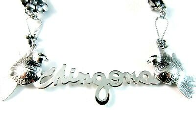 Maria Belen ~Delicate~ 'CHINGONA' Sterling Dove Necklace with Hand Made Chain