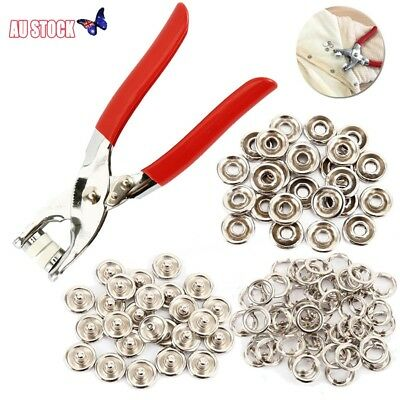 200pcs Prong Pliers Ring Press Studs Snap Popper Fasteners 9.5mm DIY Tool Kit AU