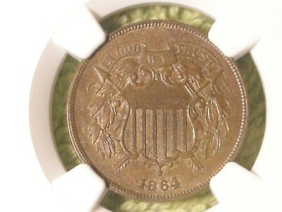 1864 Large Motto 2 cent NGC MS 62 BN