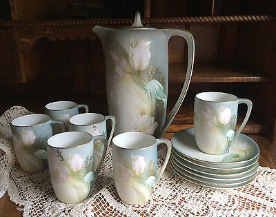 CHOCOLATE SET RS GERMANY Handpainted WHITE TULIPS POT 6 CUPS & SAUCERS EXCELLENT