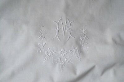 Antique French pure cotton embroidered pillow case, floral sprays, lace edge