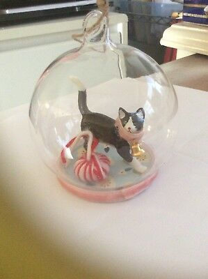 Cody Foster Black Cat In Globe With Yarn Christmas Ornament