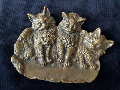 Antique Victorian Bradley & Hubbard B&H 1640 Bronze/Brass Kittens Cats Dish