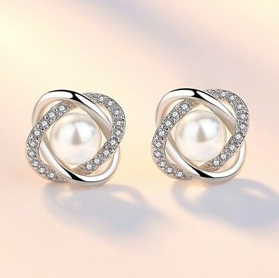 Crystal Pearl Twisted Stud Earrings 925 Sterling Silver Womens Jewellery Gift UK