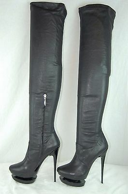 703803bf1810 Mipiaci Made In Italy Black Leather Stretch Over The Knee Boots Eu 37 Us 6.5