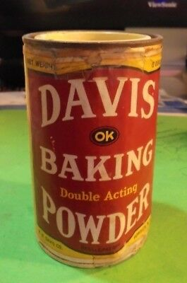 Vintage Davis Baking Powder Tin Can 8 Oz Penick & Ford New York With Lid Full