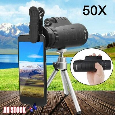 50X60 HD Zoom Optical Lens Monocular Telescope + Clip + Tripod For Mobile Phones