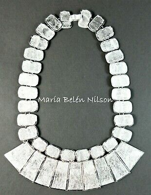 Maria Belen ~Grandiose~Reticulated Sterling Textured Panel Maya Style Necklace