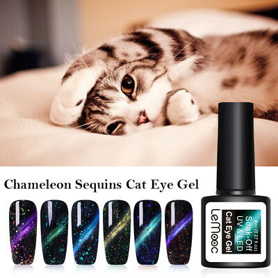 LEMOOC Sequins Chameleon Magnetic Nail Gel Polish 3D Cat Eye Soak Off UV Gel 8ml