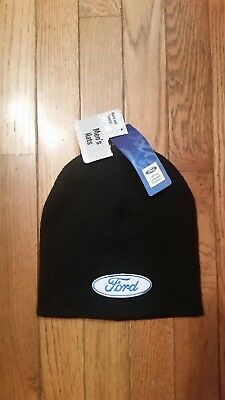 NEW NWT FORD Motor Mens Black Knit Beanie Cap Winter Logo Patch Hat Licensed 0c69f8915db