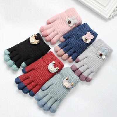 Lovely Toddler Baby Thicken Girls Boys Finger Winter Warm Knitted Mittens Gloves
