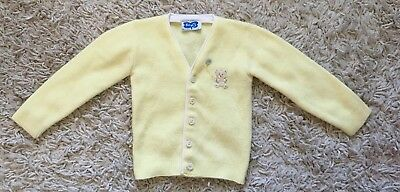Vintage Baby Boy Yellow Teddy Bear Cardigan Sweater 9 - 12 Months