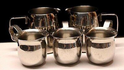 "Stainless steel creamers 2"" and 3"" restaurant ware Lot Of 5"