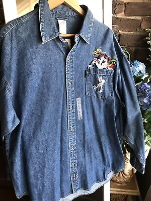 Vintage Warner Bros WB Looney Tunes Denim Shirt New With Tags Rare 90s Size L