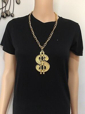 Gold Dollar Sign $ Necklace Chain Rapper Hip Hop Bling 90s 80s Costume