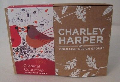 NIB Charley Harper Bird Cardinal Courtship Hand Felt Sculpture Gold Leaf Design