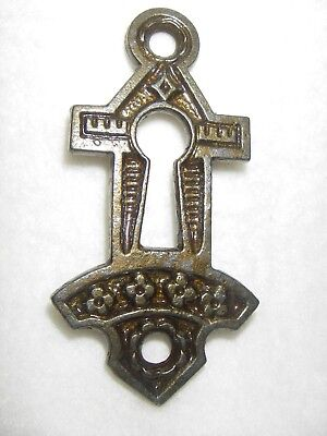 NOS Antique Vintage Victorian EASTLAKE Cast Keyhole Cover Escutcheon