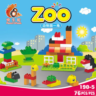 76Pcs zoo Building Blocks City DIY Creative Bricks Educational Toy Gift For