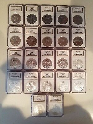 "American Silver Eagles 1986-2007 $1 1oz .999 22 coin set MS69 ""brown label"" NGC."