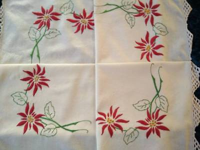 Gorgeous Red Poinsettias ~ Christmas   ~ Vintage Hand Embroidered Tablecloth