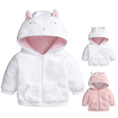 Baby Girls Boys Hooded Coat Jacket Winter Outwear Pockets Overcoat For 0-18Month