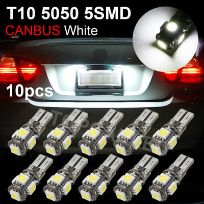 10x Error Free Canbus T10 194 W5W 501 5050 5 SMD LED White Car Side Light Bulbs
