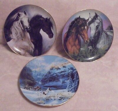Lot of 3 Collector Horse Plates  Danbury Mint W.L.George Fine China