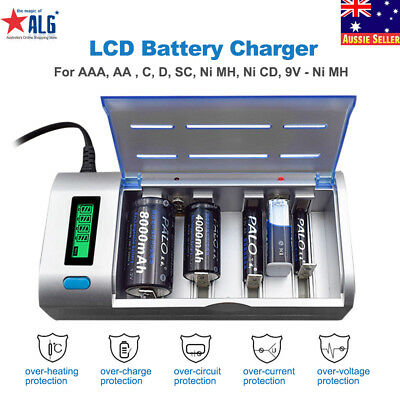 PALO Rechargeable LCD Battery Charger For Ni-MH Ni-CD 9V AA AAA C D SC Batteries