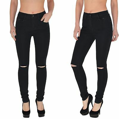 3865b2796ca1d7 Damen Stretch Zerrissene Leggins Jeggings Hohe Taille Denim Hosen Jeans  Leggings
