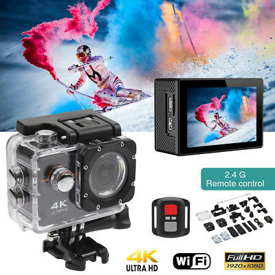 Cawono 4K Action Camera HD Sports Camera WIFI Waterproof Helmet Go+pro DV+Bag US