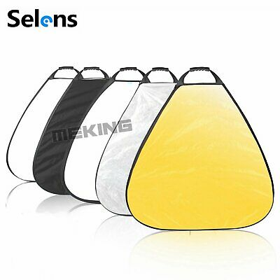 Selens 5 in 1 Collapsible Triangle Photography Reflector 100cm with Handle Grip