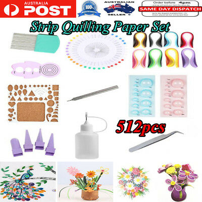 512pcs Strips Quilling Paper Tool Set Rolling Strips DIY Crafts Home Decoration
