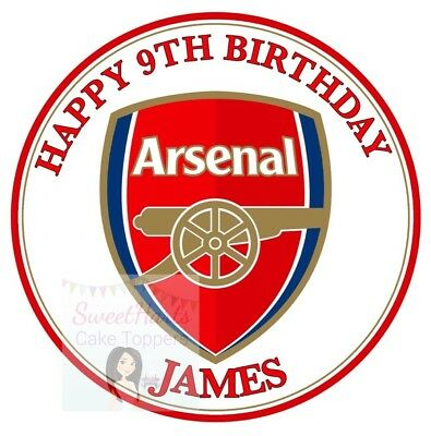 Arsenal Cake Topper Round Personalised Edible Printed Icing Football