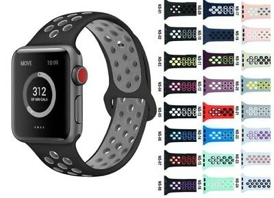 Replacement Silicone Sport Band Strap 38mm 42mm For Nike+ Apple Watch 123 iWatch