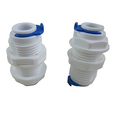 """TmallTech 3/8"""" inch White Fittings Bulkhead Connector Tube Quick Connect for RO"""