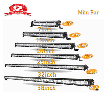 7/13/20/25/32/38 inch Single Row Slim LED Work Light Bar for Car Off road Truck