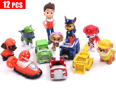 Paw Patrol Dog Puppy Rescue Character Toys Figure Figurine Cake Topper 12pcs