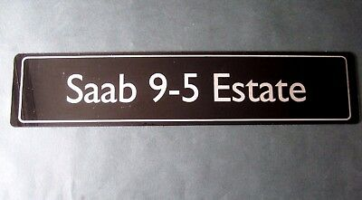 SAAB 9-5 Estate SHOWROOM NUMBER PLATE. Rare Original Display Plate. 1998 > 2009