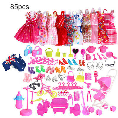 AU! 85 Items For Doll Dresses, Shoes,jewellery Clothes Set Accessories
