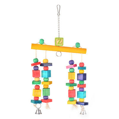 Block Chewing Toy Bird Parrot Hanging Ring Bell Decorative Accessories PS260